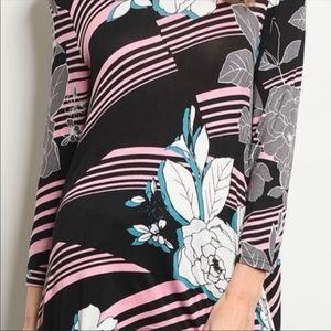 Annabelle Tops - Chic & Sassy Floral Dip Hem Blouse NWT